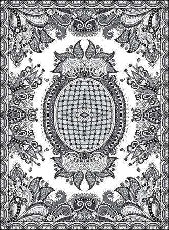 canvas print: grey ukrainian floral carpet design for print on canvas or paper, karakoko style ornamental pattern, black and white vector illustration