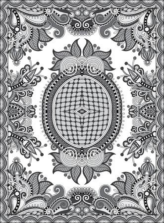 counterpane: grey ukrainian floral carpet design for print on canvas or paper, karakoko style ornamental pattern, black and white vector illustration