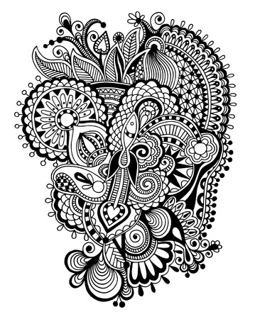 black and white zentangle line art flower drawing, graphic print for your design, vector illustration