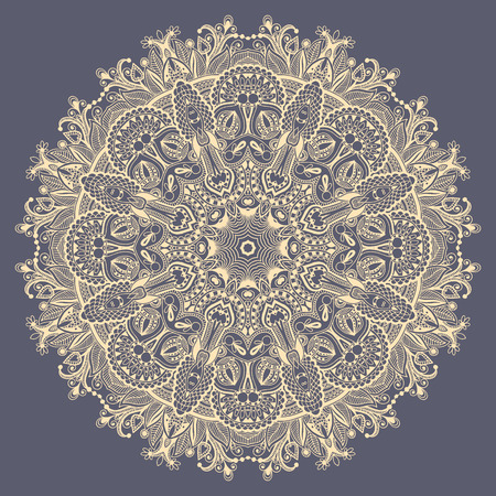 mandala, circle decorative spiritual indian symbol of lotus flower, round ornamental lace pattern, vector illustration  イラスト・ベクター素材