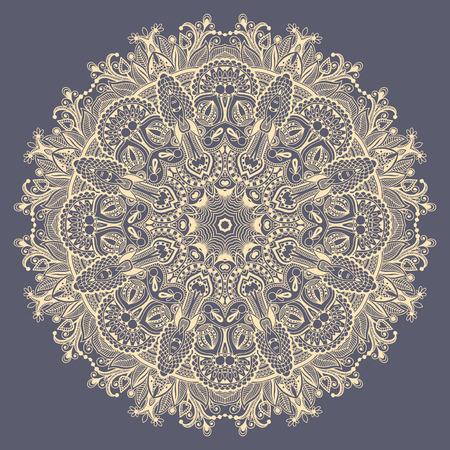 oriente: mandala, círculo decorativo símbolo indio espiritual de la flor de loto, modelo redondo de encaje ornamental, ilustración vectorial Vectores