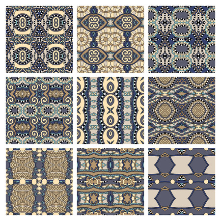 fabric design: set of different seamless colored vintage geometric pattern, texture for wallpaper, web page background, fabric and wrapping paper design, vector illustration