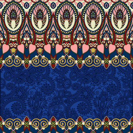 folkloric: ultramarine ornamental floral folkloric background for invitation, cover design, fabric pattern or page decoration, ethnic border on vintage flower background, vector illustration