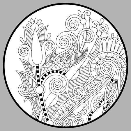Coloriage livre pour adultes - Zendala, la joie aux enfants plus âgés et les adultes, coloristes qui aiment la création de la ligne de l'art, se détendre et de méditation, illustration vectorielle