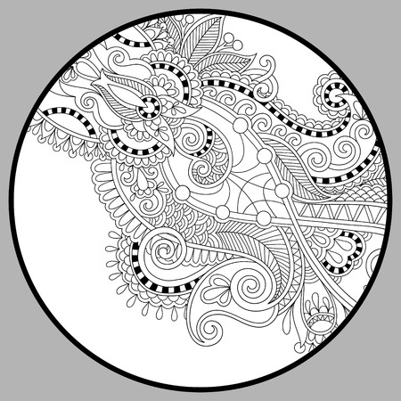 adults: coloring book page for adults - zendala, joy to older children and adult colorists, who like line art creation, relax and meditation, vector illustration