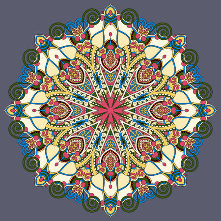 yantra: mandala, circle decorative spiritual indian symbol of lotus flower, round ornament pattern, vector illustration