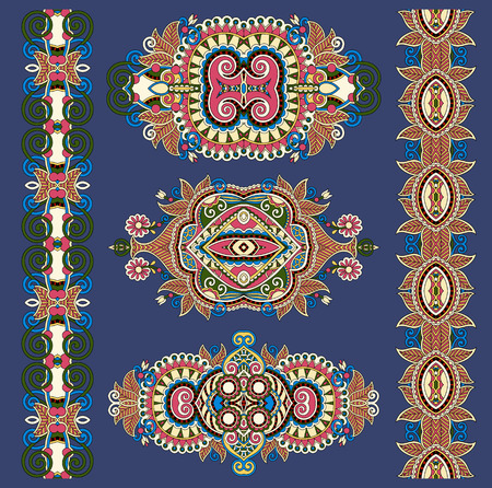 adornment: ornamental ethnik decorative floral adornment, vector illustration on dirty dark blue background Illustration
