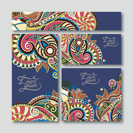 collection of decorative floral greeting cards in vintage style, ethnic pattern, vector illustration on dirty dark blue Vector