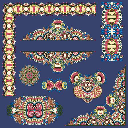 disegni cachemire: insieme di elementi di design floreale paisley per la decorazione pagina, cornice, angolo, divisore, cerchio fiocco di neve, motivo a strisce, illustrazione vettoriale su blu scuro sporco