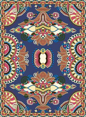 counterpane: ukrainian floral carpet design for print on canvas or paper, karakoko style ornamental pattern, vector illustration on darty dark blue