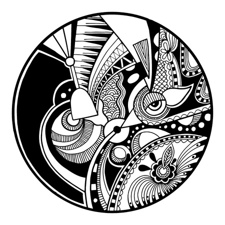 Black and white abstract zendala on circle, relax and meditation zentangle art, monochrome vector illustration