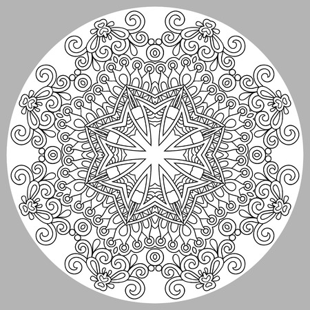coloring pages: coloring book page for adults - zendala, joy to older children and adult colorists, who like line art creation, relax and meditation, vector illustration