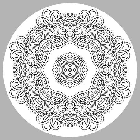 rotulador: página para colorear libro para adultos - Zendala, alegría para los niños mayores y adultos coloristas, que como la creación de la línea de arte, relajarse y meditar, ilustración vectorial