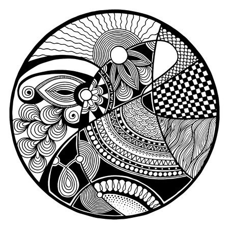 Black and white abstract zendala on circle, relax and meditation zentangle art, monochrome vector illustration Vector