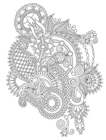 black line art authentic ornate flower design, ukrainian ethnic style, hand drawing, vector illustration Vector