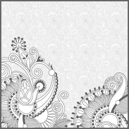 color illustration: unique coloring book square page for adults - floral authentic carpet design, joy to older children and adult colorists, who like line art and creation, vector illustration