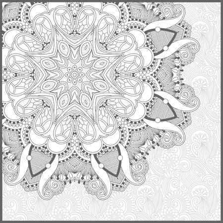 coloring book page: unique coloring book square page for adults - floral authentic carpet design, joy to older children and adult colorists, who like line art and creation, vector illustration