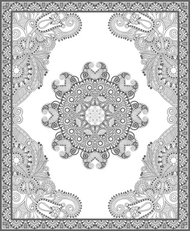 children book: unique coloring book square page for adults - floral authentic carpet design, joy to older children and adult colorists, who like line art and creation, vector illustration