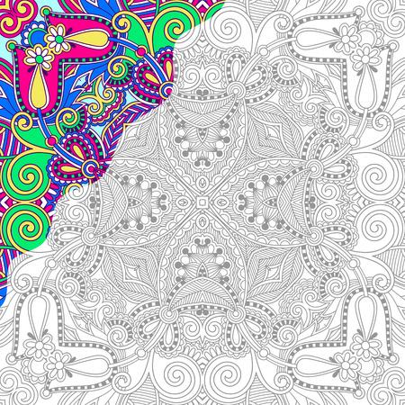 libros: página única para colorear libro cuadrado para adultos - diseño de la alfombra floral auténtico, la alegría a los niños mayores y adultos coloristas, que como línea de arte y creación, ilustración vectorial