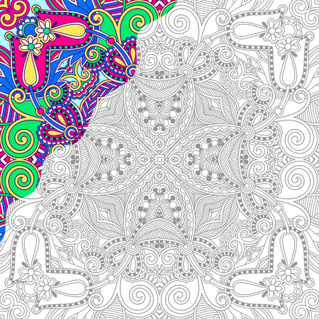 color: unique coloring book square page for adults - floral authentic carpet design, joy to older children and adult colorists, who like line art and creation, vector illustration