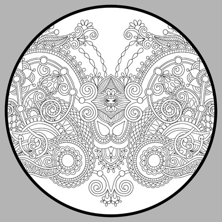 adult: coloring book page for adults - zendala, joy to older children and adult colorists, who like line art creation, relax and meditation, vector illustration