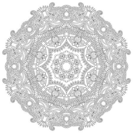 mandala flower: Circle lace ornament, round ornamental geometric doily pattern, black and white collection Illustration