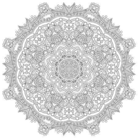 white napkin: Circle lace ornament, round ornamental geometric doily pattern, black and white collection, vector illustration Illustration