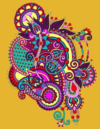 ukrainian traditional: original hand draw line art ornate flower design. Ukrainian traditional style, vector illustration