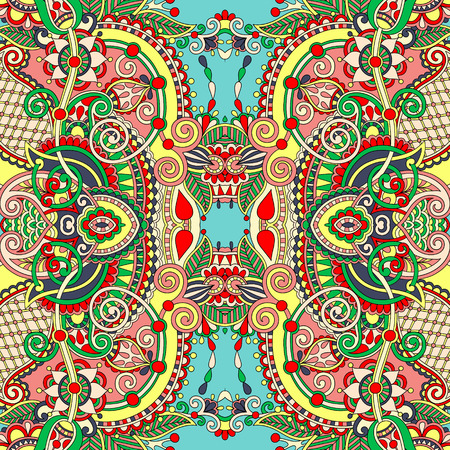 authentic seamless floral geometric pattern, ethnic ukrainian carpet ornamental background, vector illustration Vector