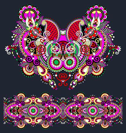 unique: Neckline ornate floral paisley embroidery fashion design, ukrainian ethnic style. Good design for print clothes or shirt. Vector illustration Illustration