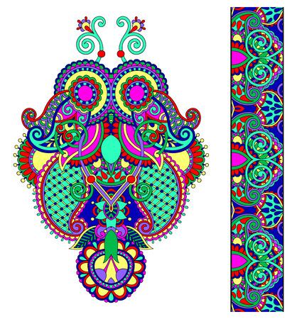 kashmir: Neckline ornate floral paisley embroidery fashion design, ukrainian ethnic style. Good design for print clothes or shirt. Vector illustration Illustration