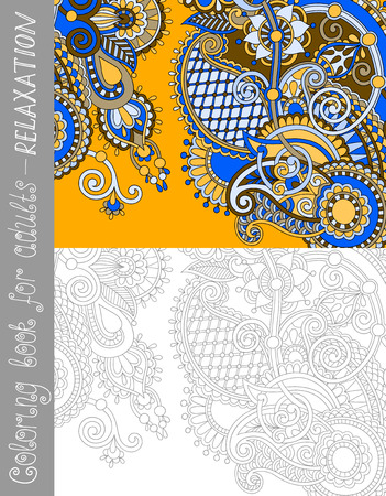adult's: unique coloring book page for adults - flower paisley design, joy to older children and adult colorists, who like line art and creation, vector illustration