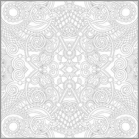 ユニークな塗り絵大人 - 花の本格的なカーペットのデザインは、年長の小児と成人のカラーリスト、ライン アートのように人に喜びとベクトル図の作成のための正方形のページ 写真素材 - 40546927