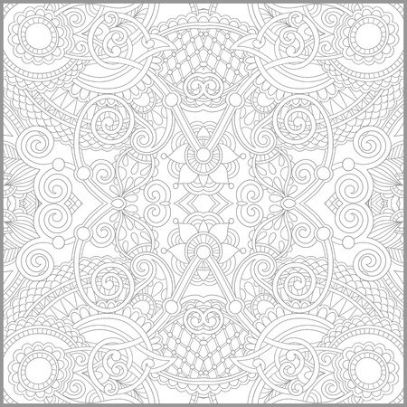 colouring: unique coloring book square page for adults - floral authentic carpet design, joy to older children and adult colorists, who like line art and creation, vector illustration