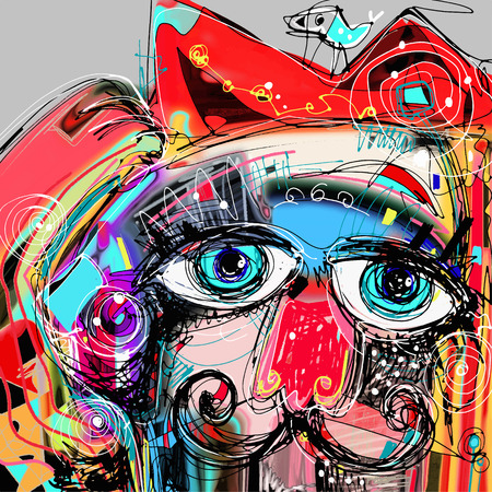 abstract digital artwork painting portrait of cat  mustaches with a bird on a head, doodle art vector illustration Vectores
