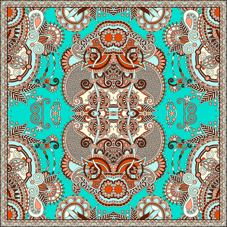 kerchief: Traditional ornamental floral paisley bandanna. Square ornament. You can use this pattern in the design of carpet, shawl, pillow, cushion, vector illustration Illustration