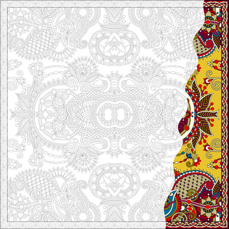 unique: unique coloring book square page for adults - floral authentic carpet design, joy to older children and adult colorists, who like line art and creation, vector illustration