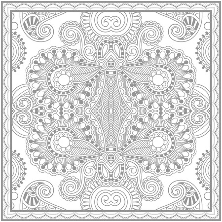 carpet design: unique coloring book square page for adults - floral authentic carpet design, joy to older children and adult colorists, who like line art and creation, vector illustration