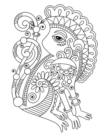 line art drawing of ethnic monkey in decorative ukrainian style, black and white vector illustration Vector