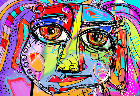 decor: original abstract digital painting of human face, colorful composition in contemporary modern art, perfect for interior design, page decoration, web and other, vector illustration