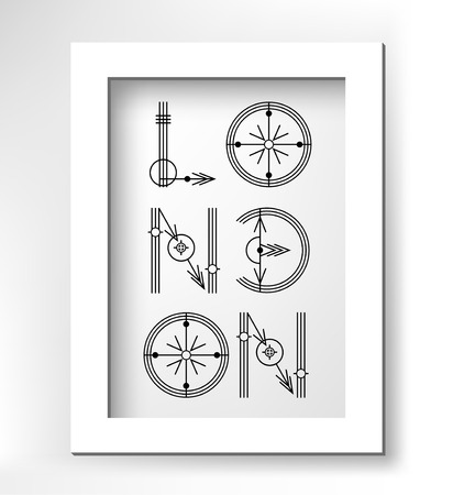 type lettering: London creative type lettering in white minimalistic frame, vector illustration Illustration