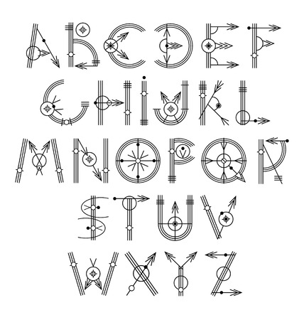 original: original unique creative hipster black alphabet font collection, vector illustration Illustration
