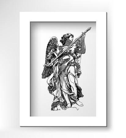 archangel: original sketch digital drawing of marble statue of angels from the Sant Angelo Bridge in Rome, Italy, vector illustration with white minimalistic frame