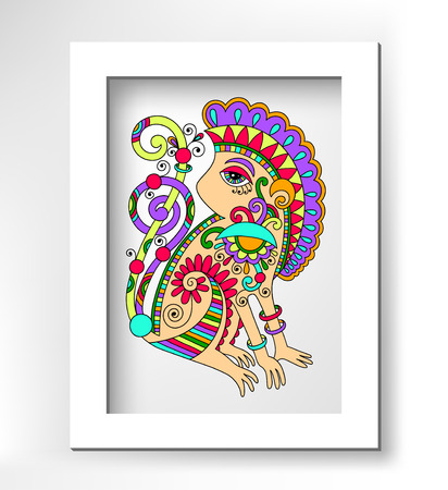 line art drawing of ethnic monkey in decorative ukrainian style, colored vector illustration with white minimalistic frame Vector