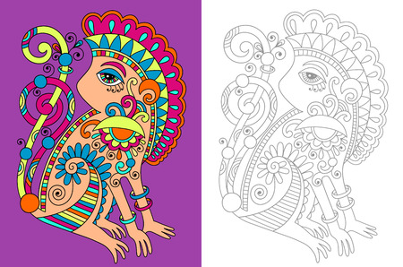 adult: coloring book page for adults with unusual fantastic creature in decorative Ukrainian karakoko style, vector illustration