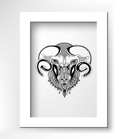 head goat decorative drawing in ethnic style with white minimalistic frame, vector illustration Vector