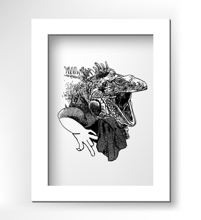 black and white image: unusual original artwork of iguana lizard with mouth open, realistic sketch black and white drawing of reptile with white minimalistic frame, animal side view vector illustration Illustration