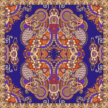neck scarf: silk neck scarf or kerchief square pattern design in ukrainian style for print on fabric, vector illustration