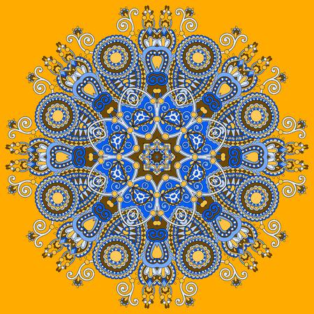 manipura: mandala, circle decorative spiritual indian symbol of lotus flower, round ornament pattern, vector illustration