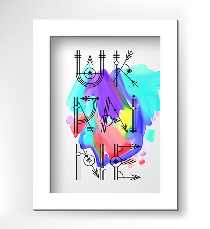 minimalistic: Ukraine creative type lettering on watercolor abstract painting in white minimalistic frame, vector illustration
